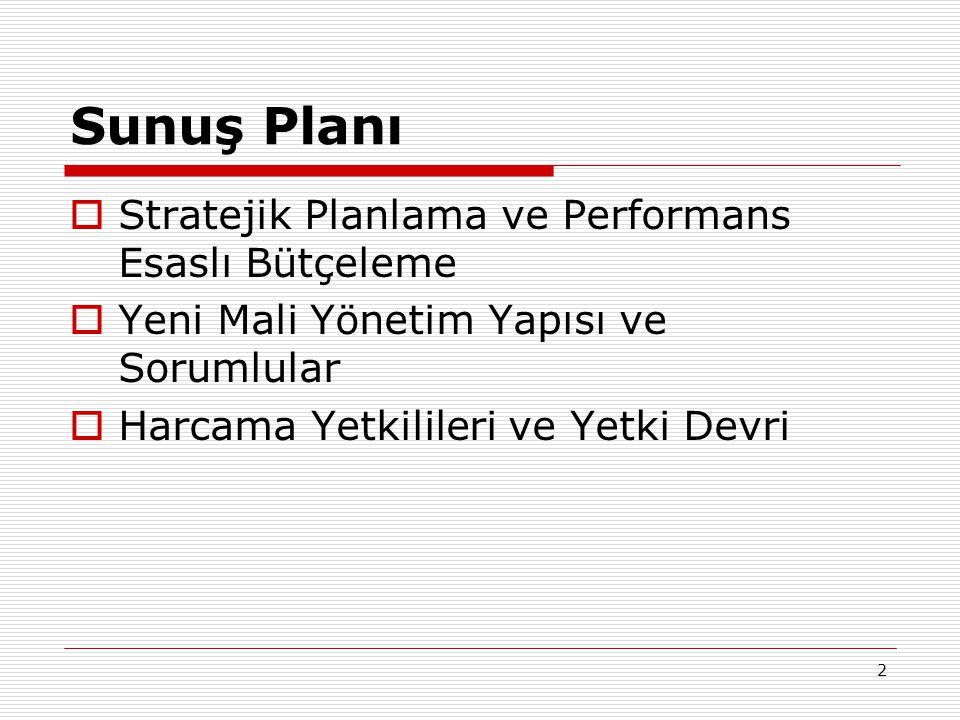 2 Sunuş Planı  Stratejik Planlama ve Performans Esaslı Bütçeleme  Yeni Mali Yönetim Yapısı ve Sorumlular  Harcama Yetkilileri ve Yetki Devri