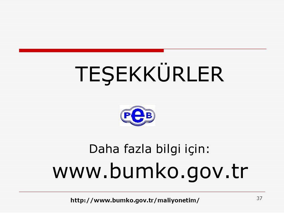 37 TEŞEKKÜRLER Daha fazla bilgi için: www.bumko.gov.tr http://www.bumko.gov.tr/maliyonetim/