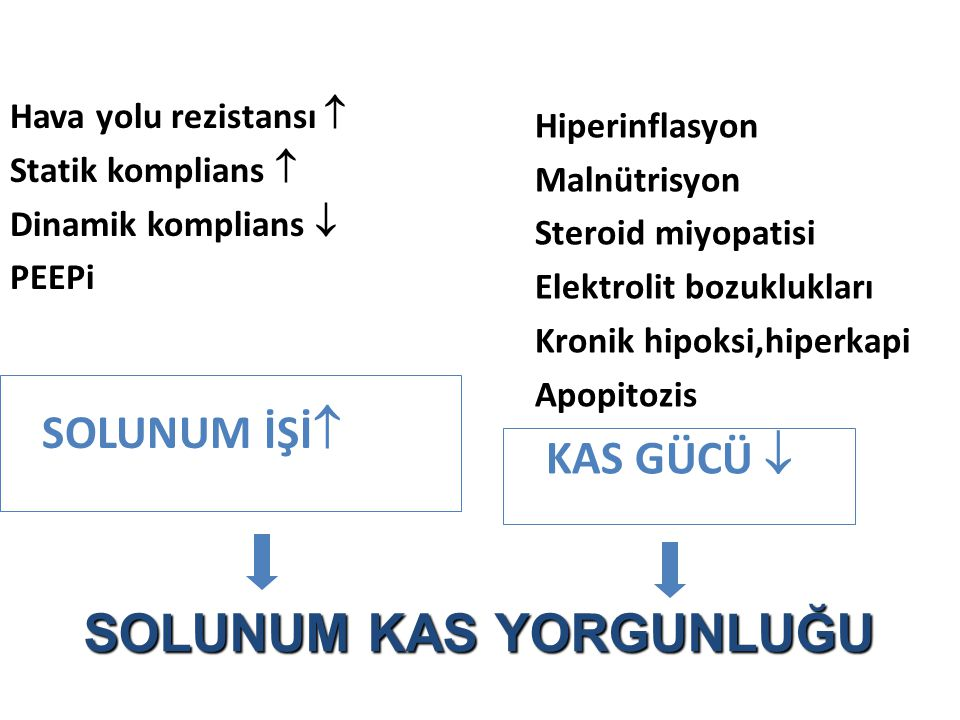 Hava yolu rezistansı  Statik komplians  Dinamik komplians  PEEPi SOLUNUM İŞİ  Hiperinflasyon Malnütrisyon Steroid miyopatisi Elektrolit bozuklukla