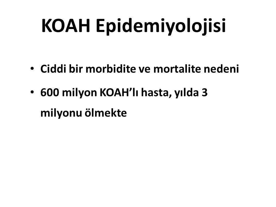 KOAH Epidemiyolojisi Ciddi bir morbidite ve mortalite nedeni 600 milyon KOAH'lı hasta, yılda 3 milyonu ölmekte