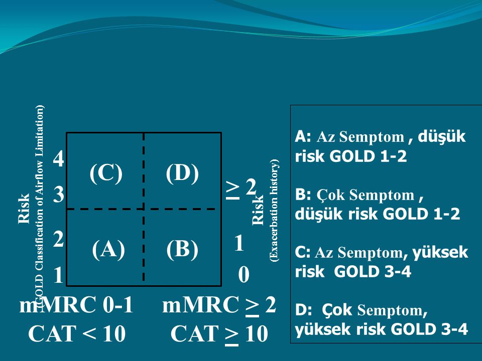 Risk (GOLD Classification of Airflow Limitation) Risk (Exacerbation history) > 2 1 0 (C)(D) (A)(B) mMRC 0-1 CAT < 10 4 3 2 1 mMRC > 2 CAT > 10 A: Az S