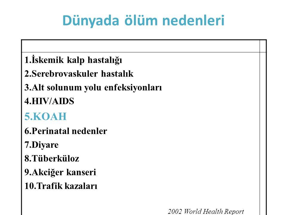Dünyada ölüm nedenleri 1.İskemik kalp hastalığı 2.Serebrovaskuler hastalık 3.Alt solunum yolu enfeksiyonları 4.HIV/AIDS 5.KOAH 6.Perinatal nedenler 7.