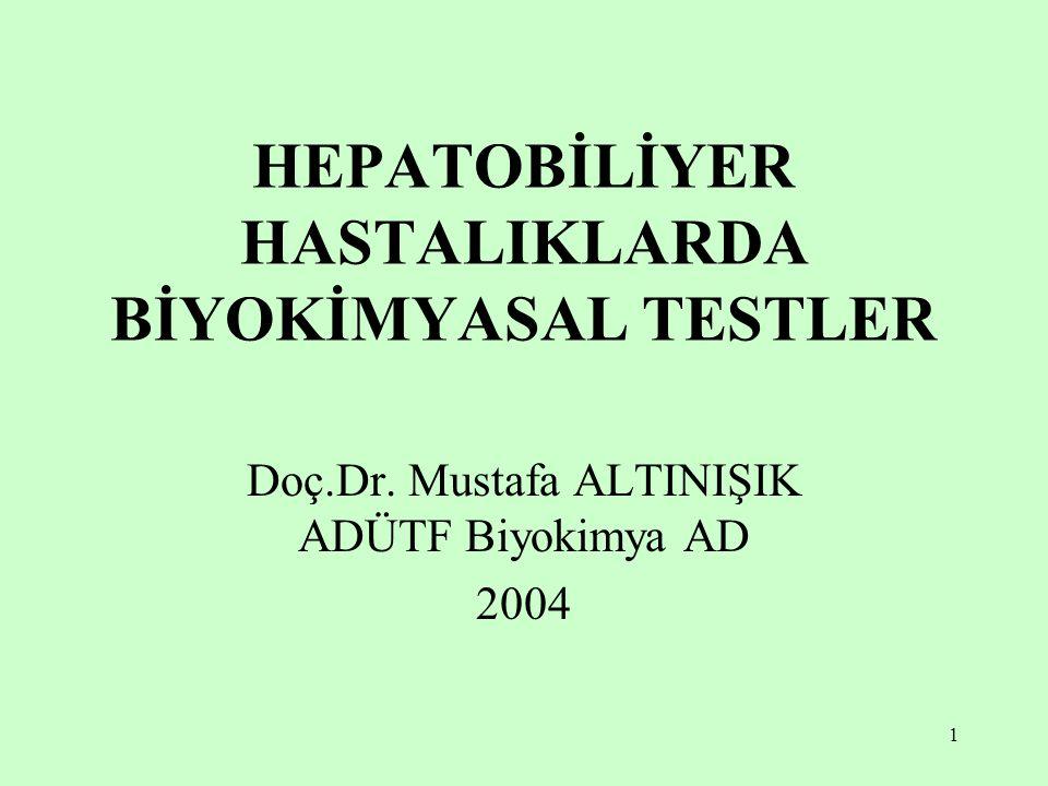1 HEPATOBİLİYER HASTALIKLARDA BİYOKİMYASAL TESTLER Doç.Dr. Mustafa ALTINIŞIK ADÜTF Biyokimya AD 2004