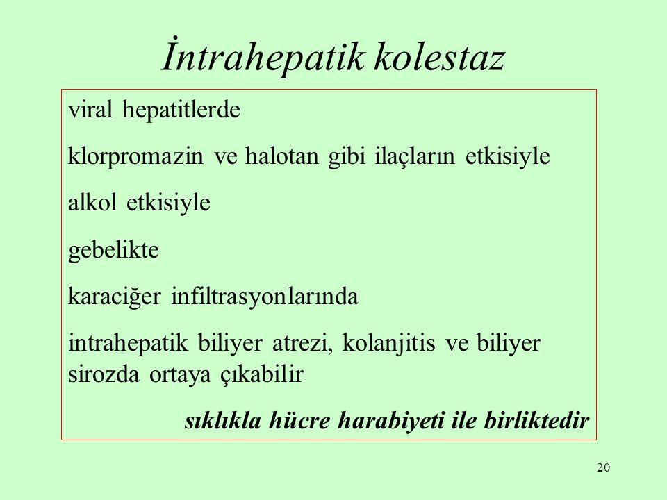 20 İntrahepatik kolestaz viral hepatitlerde klorpromazin ve halotan gibi ilaçların etkisiyle alkol etkisiyle gebelikte karaciğer infiltrasyonlarında i
