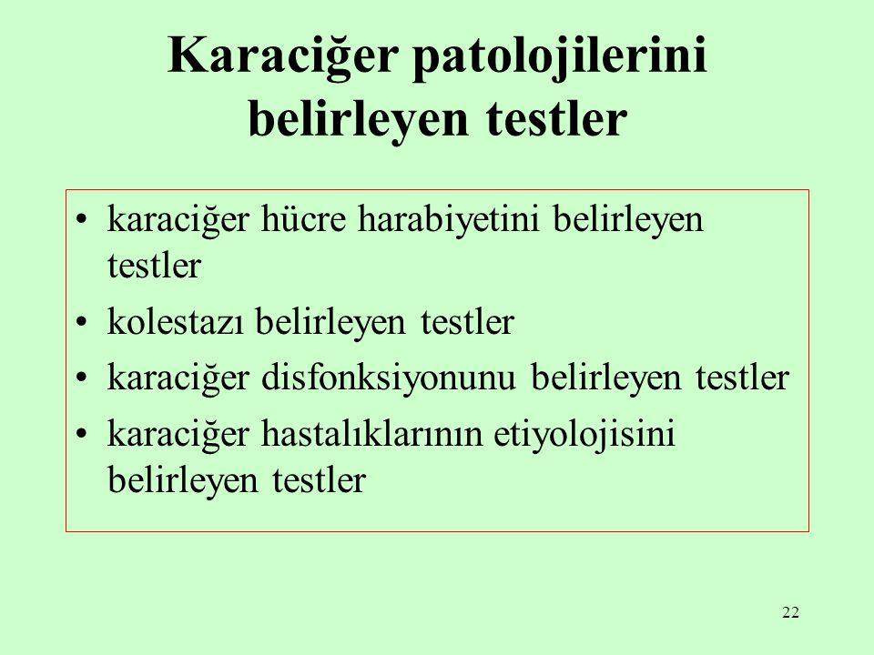 22 Karaciğer patolojilerini belirleyen testler karaciğer hücre harabiyetini belirleyen testler kolestazı belirleyen testler karaciğer disfonksiyonunu