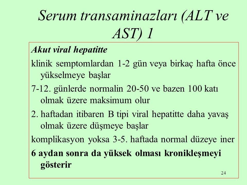 24 Serum transaminazları (ALT ve AST) 1 Akut viral hepatitte klinik semptomlardan 1-2 gün veya birkaç hafta önce yükselmeye başlar 7-12. günlerde norm