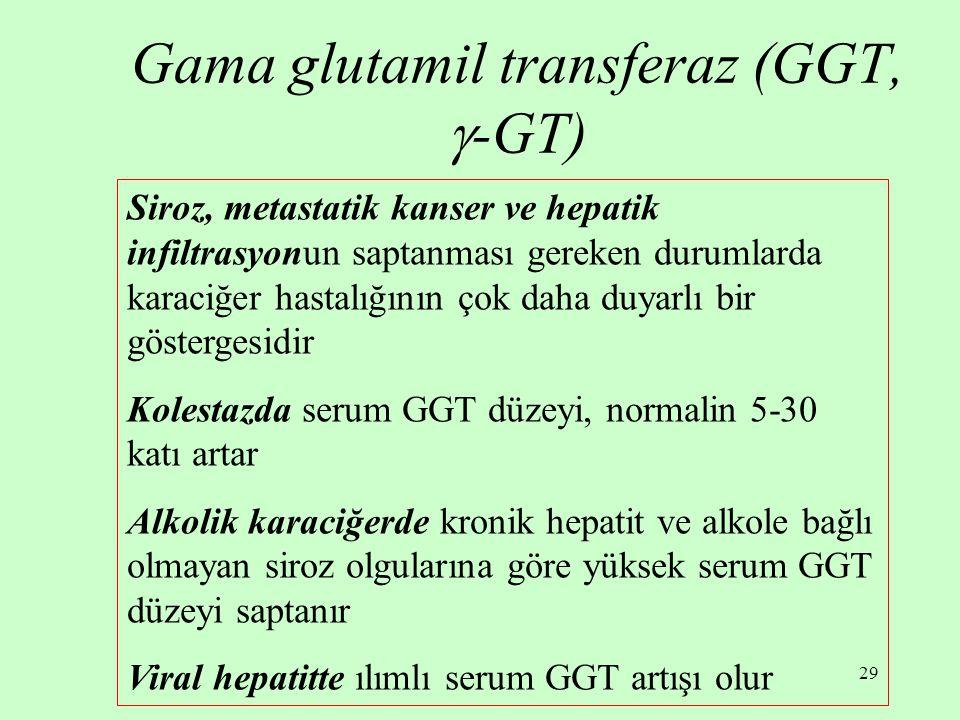 29 Gama glutamil transferaz (GGT,  -GT) Siroz, metastatik kanser ve hepatik infiltrasyonun saptanması gereken durumlarda karaciğer hastalığının çok d