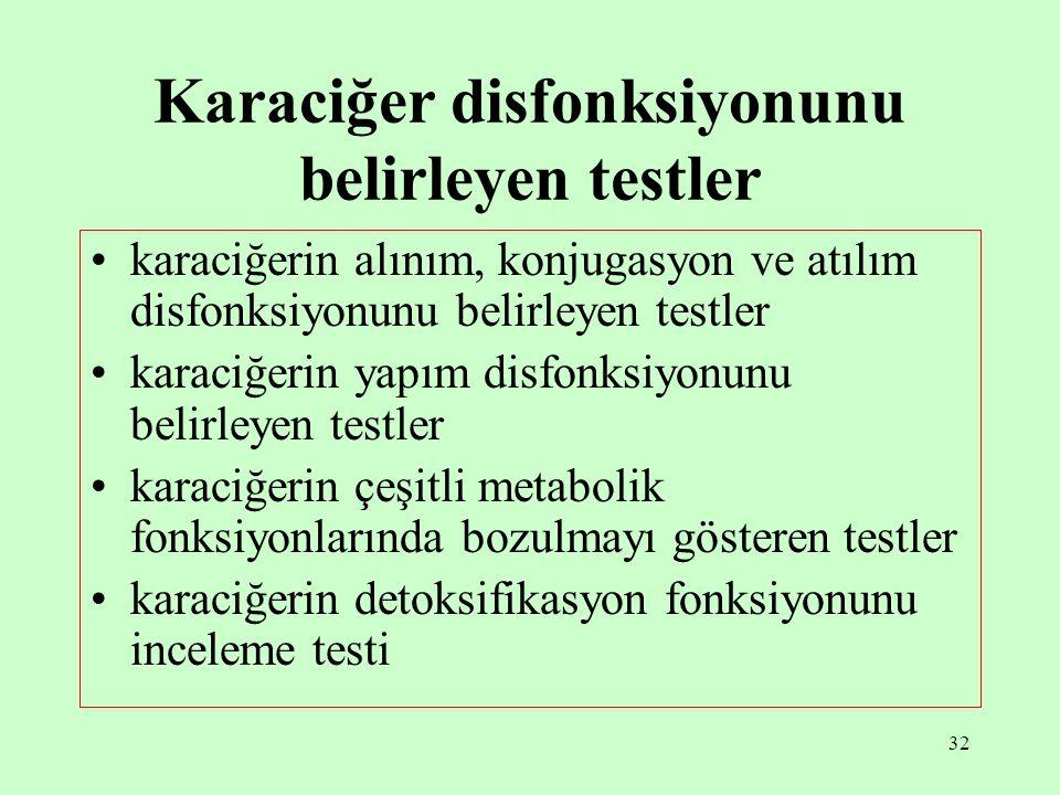 32 Karaciğer disfonksiyonunu belirleyen testler karaciğerin alınım, konjugasyon ve atılım disfonksiyonunu belirleyen testler karaciğerin yapım disfonk