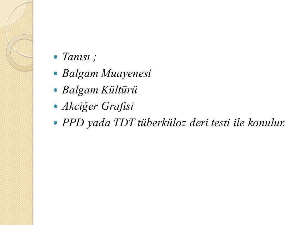 Tanısı ; Balgam Muayenesi Balgam Kültürü Akciğer Grafisi PPD yada TDT tüberküloz deri testi ile konulur.