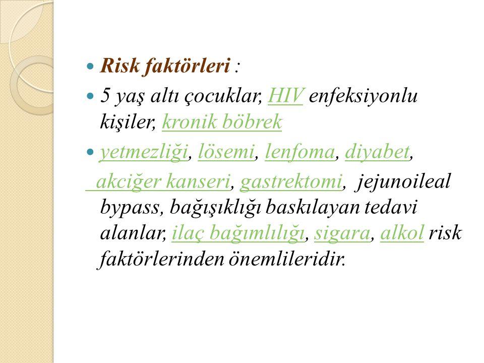 Risk faktörleri : 5 yaş altı çocuklar, HIV enfeksiyonlu kişiler, kronik böbrekHIVkronik böbrek yetmezliği, lösemi, lenfoma, diyabet, yetmezliğilösemil