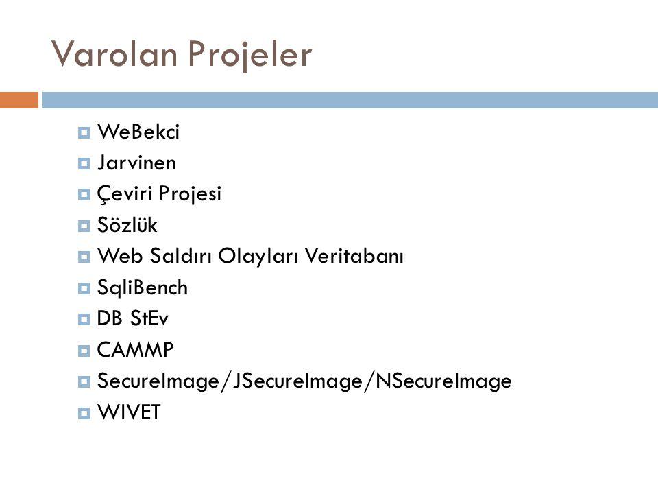 Varolan Projeler  WeBekci  Jarvinen  Çeviri Projesi  Sözlük  Web Saldırı Olayları Veritabanı  SqliBench  DB StEv  CAMMP  SecureImage/JSecureImage/NSecureImage  WIVET