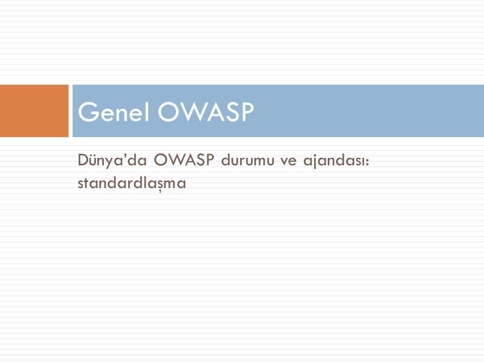 Dünya'da OWASP durumu ve ajandası: standardlaşma Genel OWASP