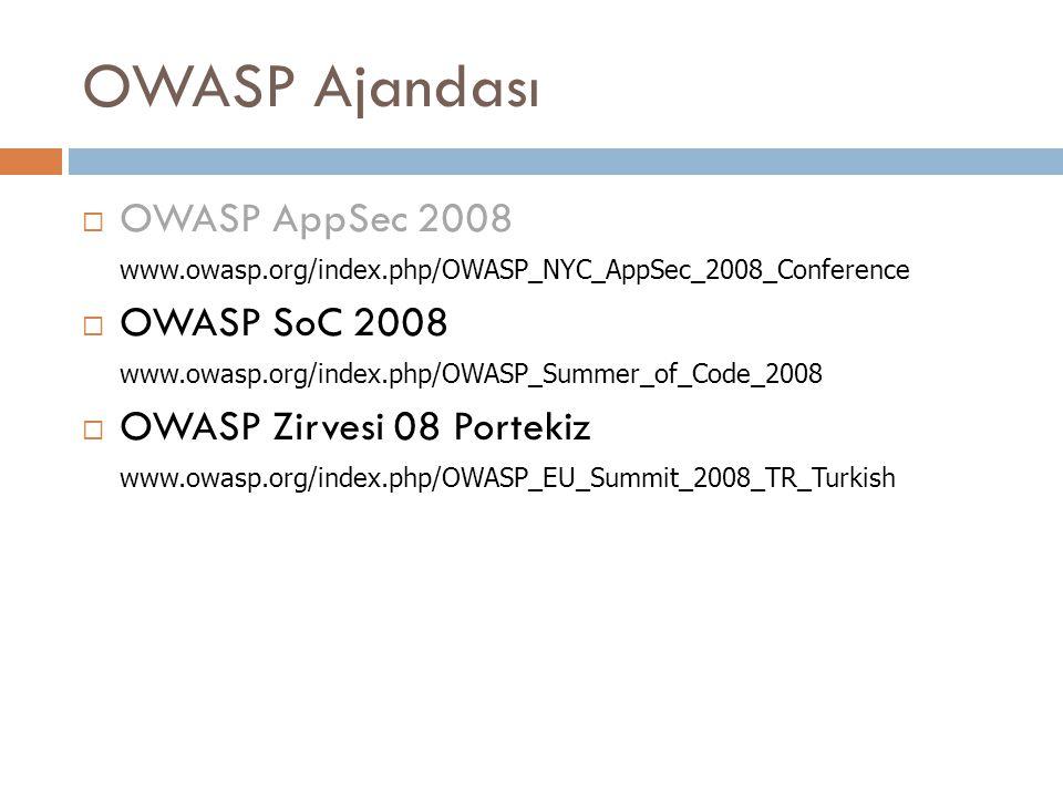 OWASP Ajandası  OWASP AppSec 2008 www.owasp.org/index.php/OWASP_NYC_AppSec_2008_Conference  OWASP SoC 2008 www.owasp.org/index.php/OWASP_Summer_of_Code_2008  OWASP Zirvesi 08 Portekiz www.owasp.org/index.php/OWASP_EU_Summit_2008_TR_Turkish