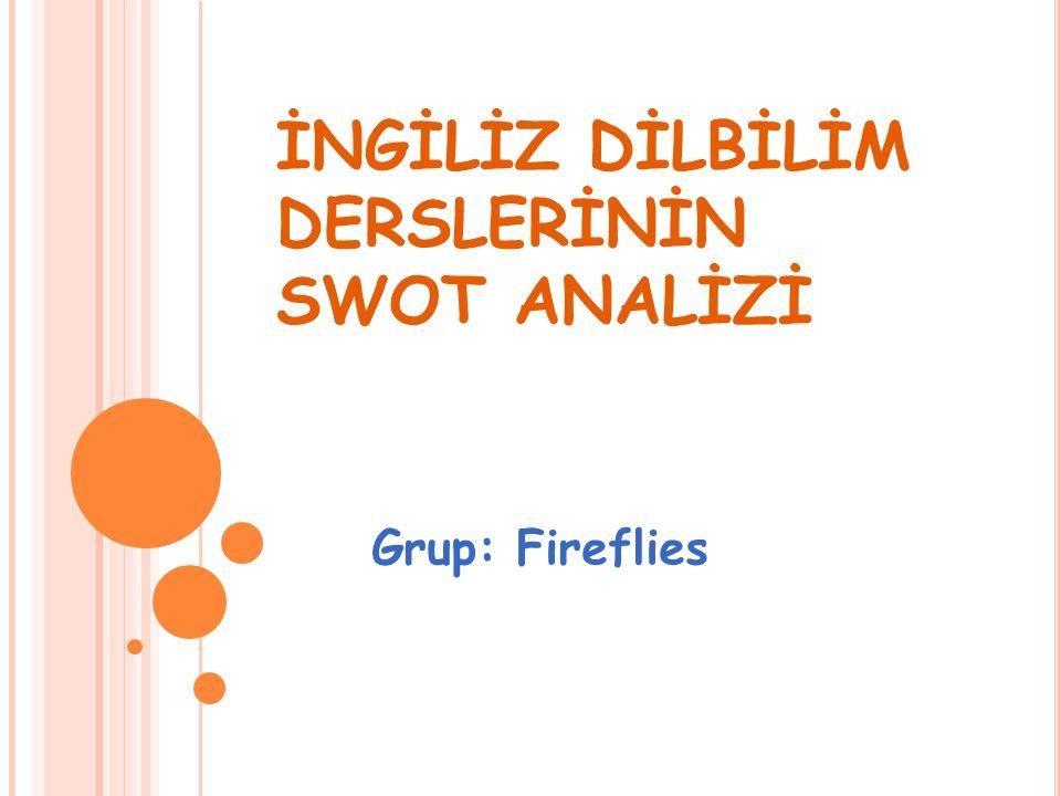 İNGİLİZ DİLBİLİM DERSLERİNİN SWOT ANALİZİ Grup: Fireflies