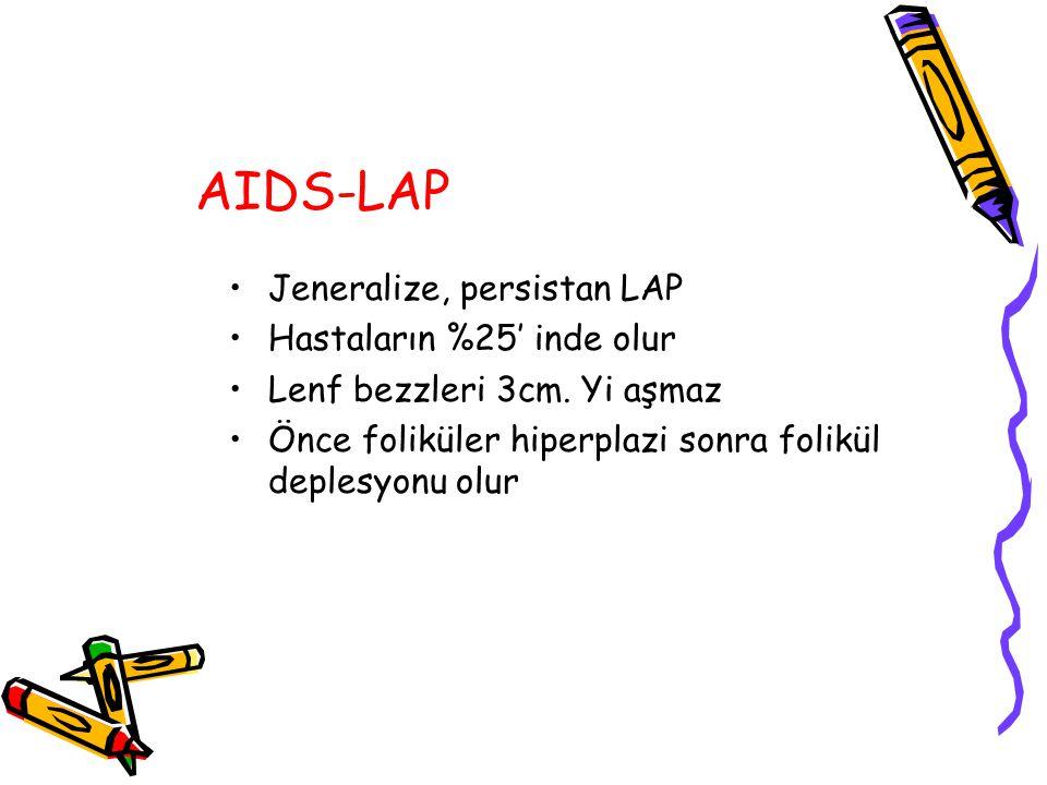 AIDS-LAP Jeneralize, persistan LAP Hastaların %25' inde olur Lenf bezzleri 3cm. Yi aşmaz Önce foliküler hiperplazi sonra folikül deplesyonu olur