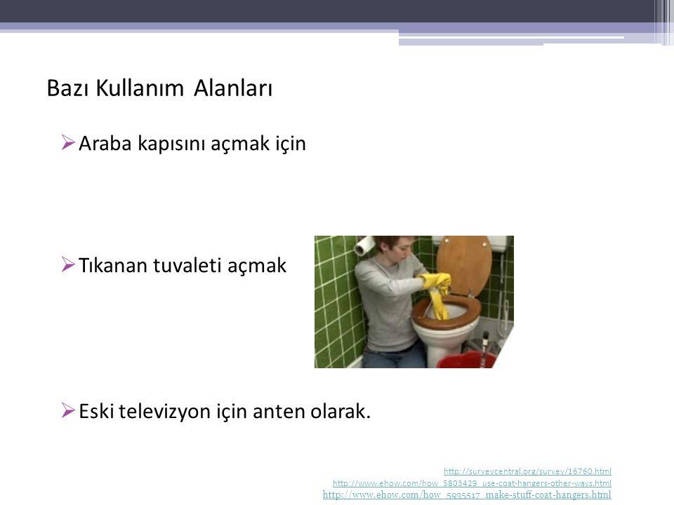 Bazı Kullanım Alanları  Araba kapısını açmak için  Tıkanan tuvaleti açmak  Eski televizyon için anten olarak. http://surveycentral.org/survey/16760