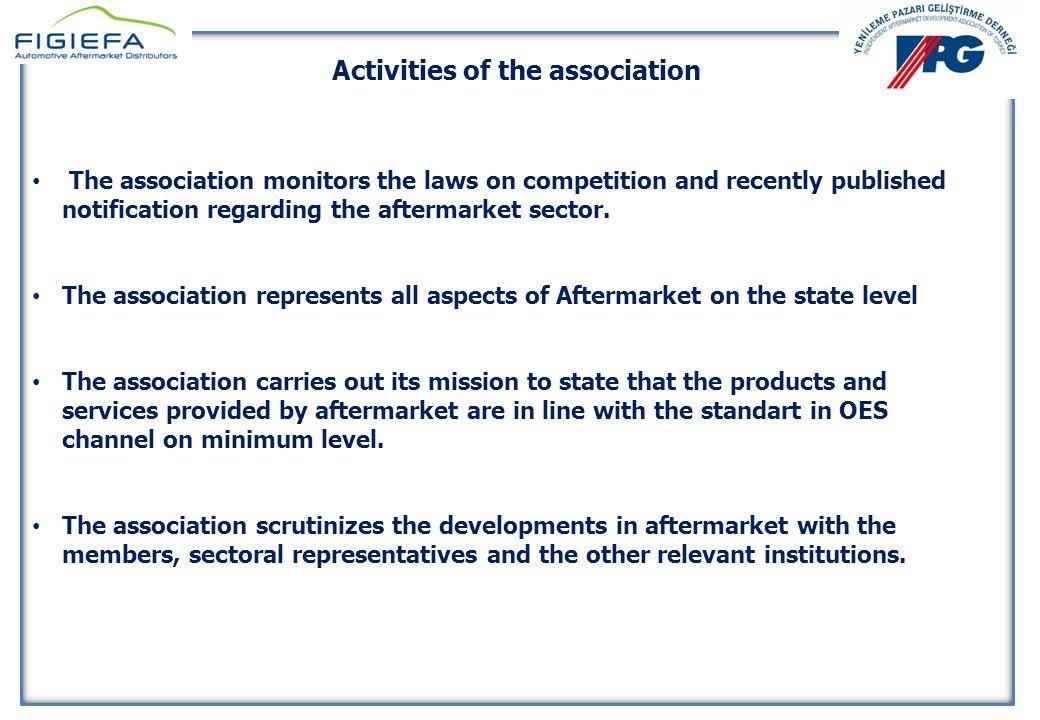 YENİLEME PAZARI GELİŞTİRME DERNEĞİ 10 Nisan 2014 YENİLEME PAZARI GELİŞTİRME DERNEĞİ 10 Nisan 2014 Activities of the association The association monitors the developments in the aftermarket sector happening in the EU through FIGIEFA.