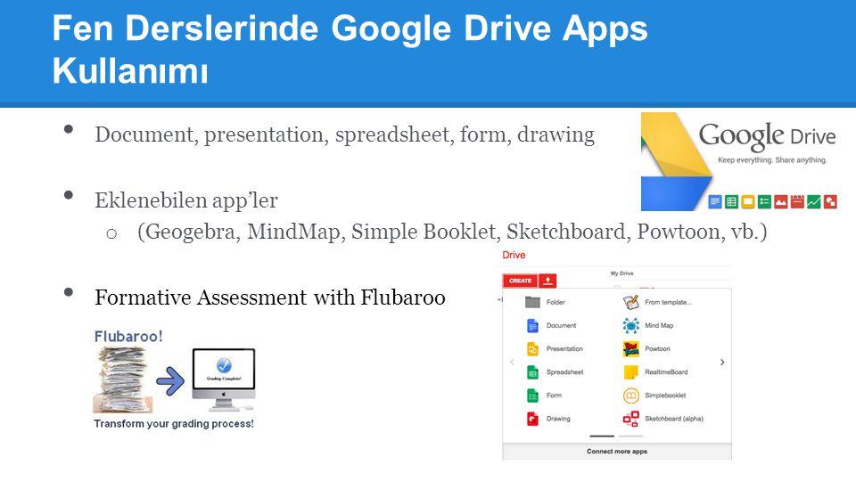 Fen Derslerinde Google Drive Apps Kullanımı Document, presentation, spreadsheet, form, drawing Eklenebilen app'ler o (Geogebra, MindMap, Simple Bookle