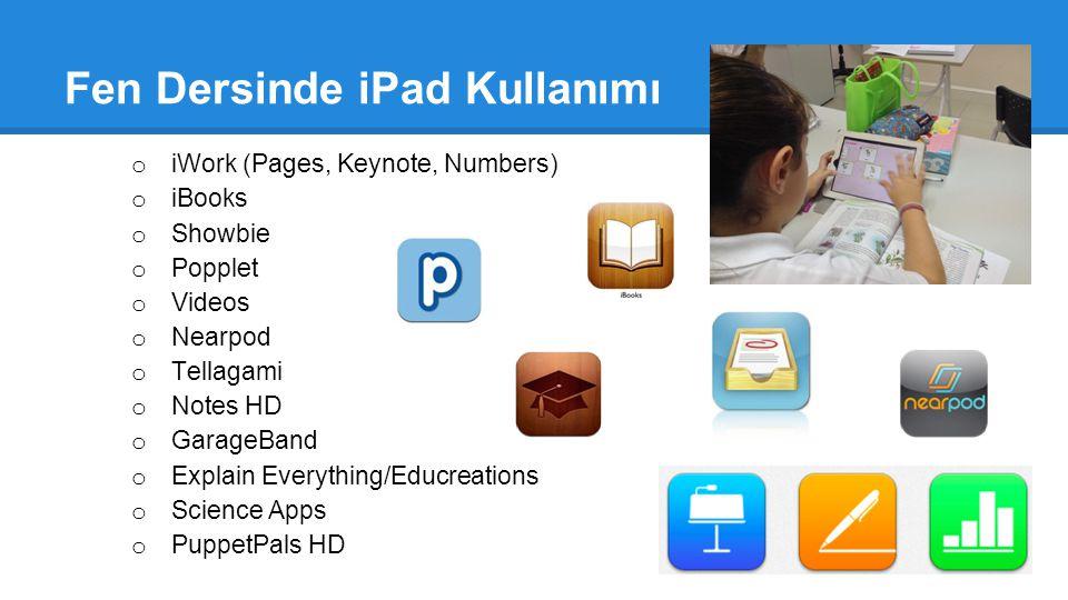 Fen Dersinde iPad Kullanımı o iWork (Pages, Keynote, Numbers) o iBooks o Showbie o Popplet o Videos o Nearpod o Tellagami o Notes HD o GarageBand o Ex
