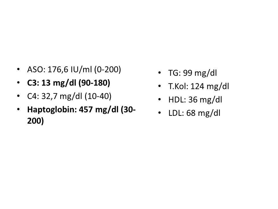ASO: 176,6 IU/ml (0-200) C3: 13 mg/dl (90-180) C4: 32,7 mg/dl (10-40) Haptoglobin: 457 mg/dl (30- 200) TG: 99 mg/dl T.Kol: 124 mg/dl HDL: 36 mg/dl LDL