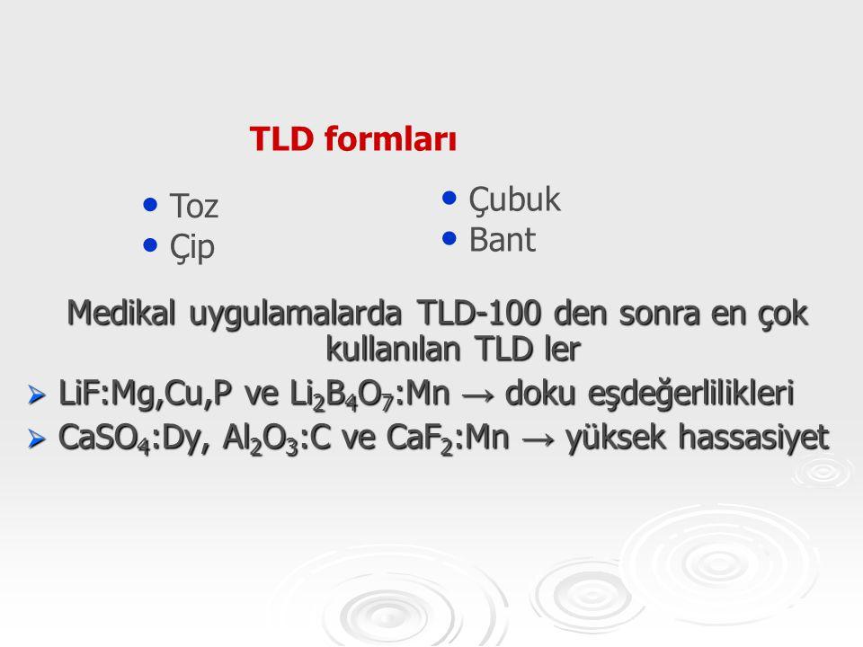 Medikal uygulamalarda TLD-100 den sonra en çok kullanılan TLD ler  LiF:Mg,Cu,P ve Li 2 B 4 O 7 :Mn → doku eşdeğerlilikleri  CaSO 4 :Dy, Al 2 O 3 :C