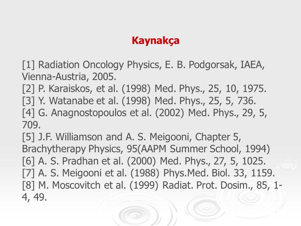 Kaynakça [1] Radiation Oncology Physics, E. B. Podgorsak, IAEA, Vienna-Austria, 2005. [2] P. Karaiskos, et al. (1998) Med. Phys., 25, 10, 1975. [3] Y.