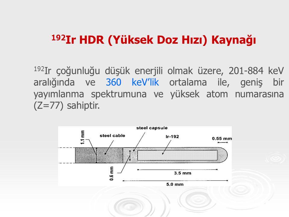 192 Ir HDR (Yüksek Doz Hızı) Kaynağı 192 Ir çoğunluğu düşük enerjili olmak üzere, 201-884 keV aralığında ve 360 keV'lik ortalama ile, geniş bir yayıml