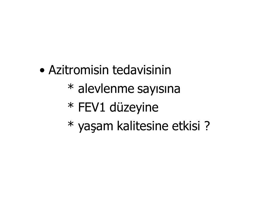 Azitromisin tedavisinin * alevlenme sayısına * FEV1 düzeyine * yaşam kalitesine etkisi ?