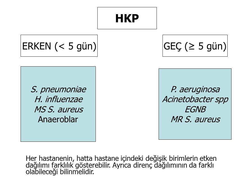 HKP ERKEN (< 5 gün)GEÇ (≥ 5 gün) S. pneumoniae H. influenzae MS S. aureus Anaeroblar P. aeruginosa Acinetobacter spp EGNB MR S. aureus Her hastanenin,