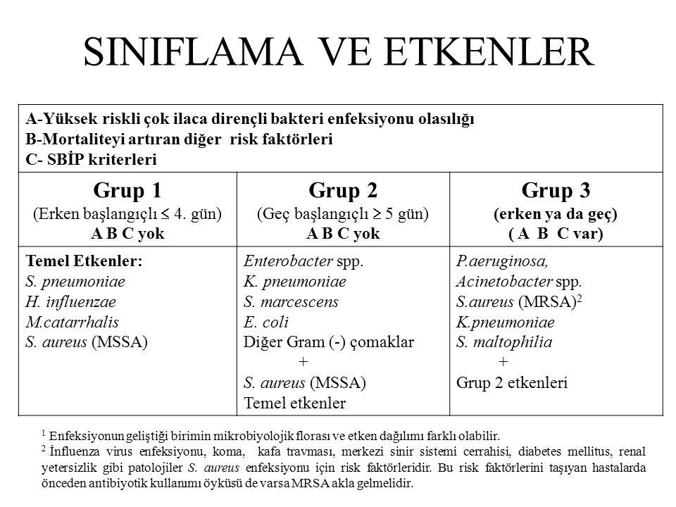 SINIFLAMA VE ETKENLER A-Yüksek riskli çok ilaca dirençli bakteri enfeksiyonu olasılığı B-Mortaliteyi artıran diğer risk faktörleri C- SBİP kriterleri