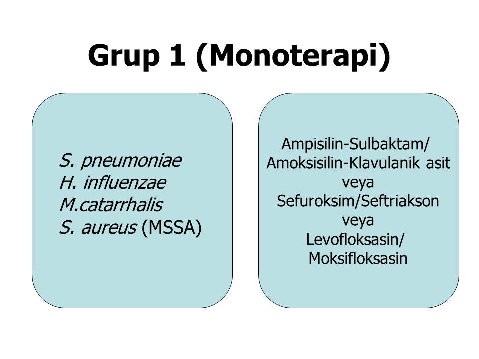Grup 1 (Monoterapi) Ampisilin-Sulbaktam/ Amoksisilin-Klavulanik asit veya Sefuroksim/Seftriakson veya Levofloksasin/ Moksifloksasin S. pneumoniae H. i