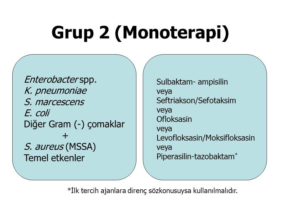 Grup 2 (Monoterapi) Sulbaktam- ampisilin veya Seftriakson/Sefotaksim veya Ofloksasin veya Levofloksasin/Moksifloksasin veya Piperasilin-tazobaktam * *