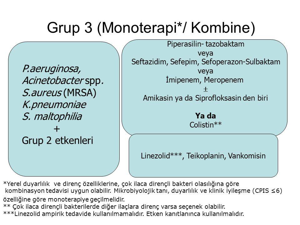 Grup 3 (Monoterapi*/ Kombine) Piperasilin- tazobaktam veya Seftazidim, Sefepim, Sefoperazon-Sulbaktam veya İmipenem, Meropenem  Amikasin ya da Siprof
