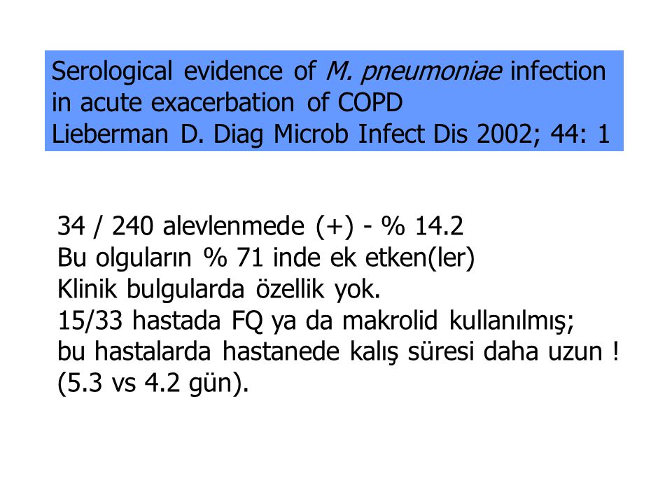 Serological evidence of M.pneumoniae infection in acute exacerbation of COPD Lieberman D.