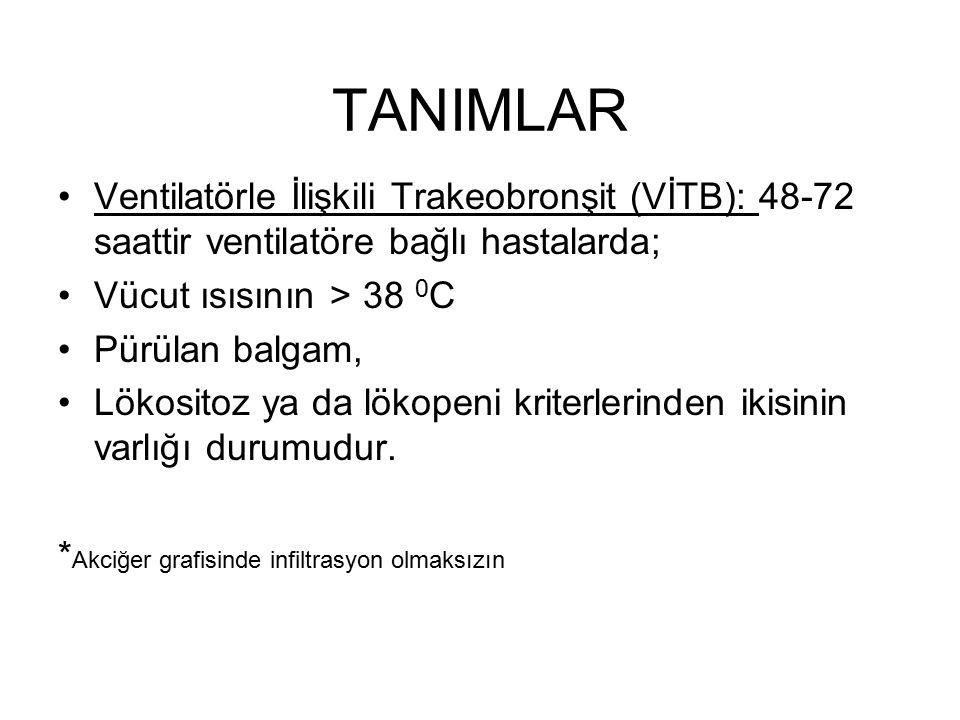 TANIMLAR Ventilatörle İlişkili Trakeobronşit (VİTB): 48-72 saattir ventilatöre bağlı hastalarda; Vücut ısısının > 38 0 C Pürülan balgam, Lökositoz ya