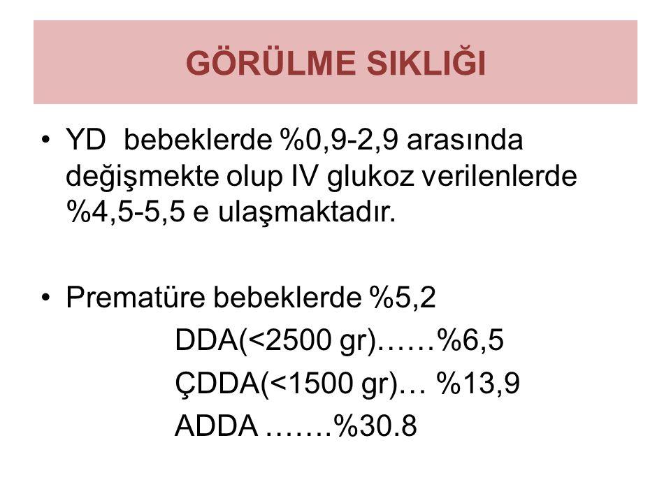 GÖRÜLME SIKLIĞI YD bebeklerde %0,9-2,9 arasında değişmekte olup IV glukoz verilenlerde %4,5-5,5 e ulaşmaktadır. Prematüre bebeklerde %5,2 DDA(<2500 gr
