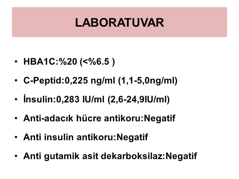 LABORATUVAR HBA1C:%20 (<%6.5 ) C-Peptid:0,225 ng/ml (1,1-5,0ng/ml) İnsulin:0,283 IU/ml (2,6-24,9IU/ml) Anti-adacık hücre antikoru:Negatif Anti insulin