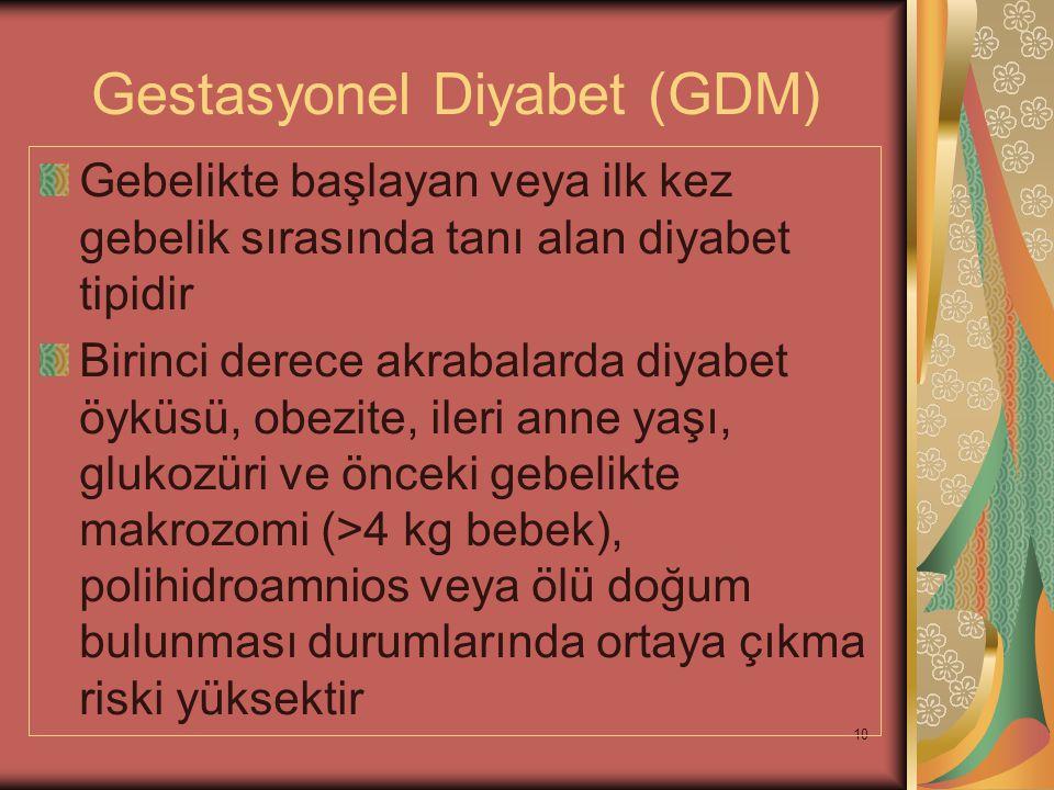 10 Gestasyonel Diyabet (GDM) Gebelikte başlayan veya ilk kez gebelik sırasında tanı alan diyabet tipidir Birinci derece akrabalarda diyabet öyküsü, ob