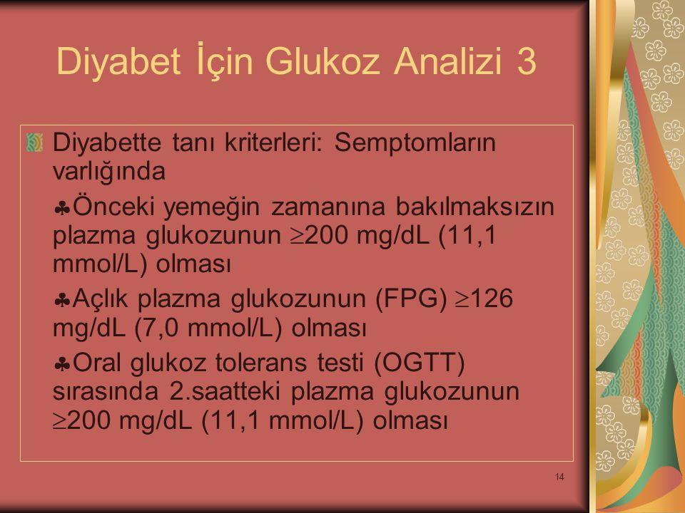 14 Diyabet İçin Glukoz Analizi 3 Diyabette tanı kriterleri: Semptomların varlığında  Önceki yemeğin zamanına bakılmaksızın plazma glukozunun  200 mg
