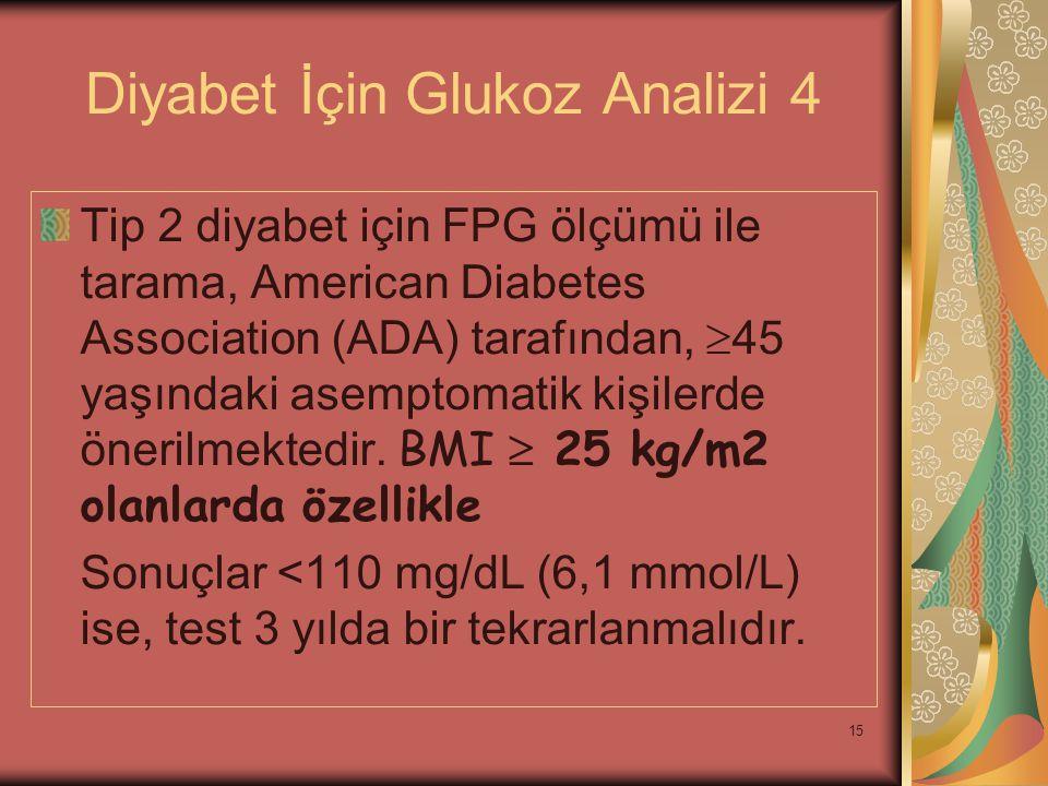 15 Diyabet İçin Glukoz Analizi 4 Tip 2 diyabet için FPG ölçümü ile tarama, American Diabetes Association (ADA) tarafından,  45 yaşındaki asemptomatik