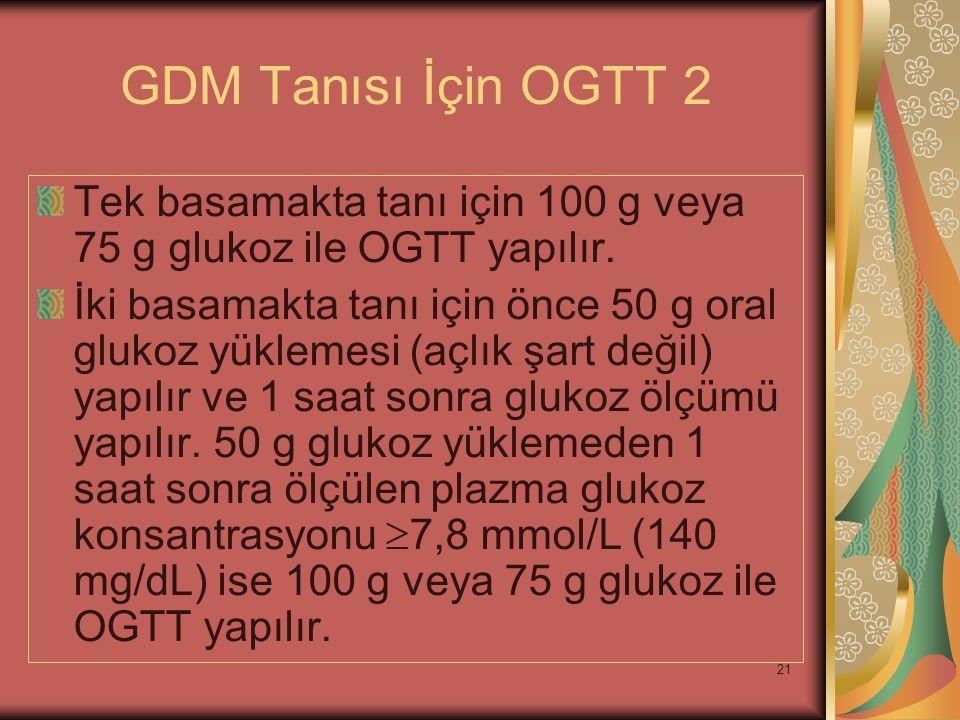 21 GDM Tanısı İçin OGTT 2 Tek basamakta tanı için 100 g veya 75 g glukoz ile OGTT yapılır. İki basamakta tanı için önce 50 g oral glukoz yüklemesi (aç