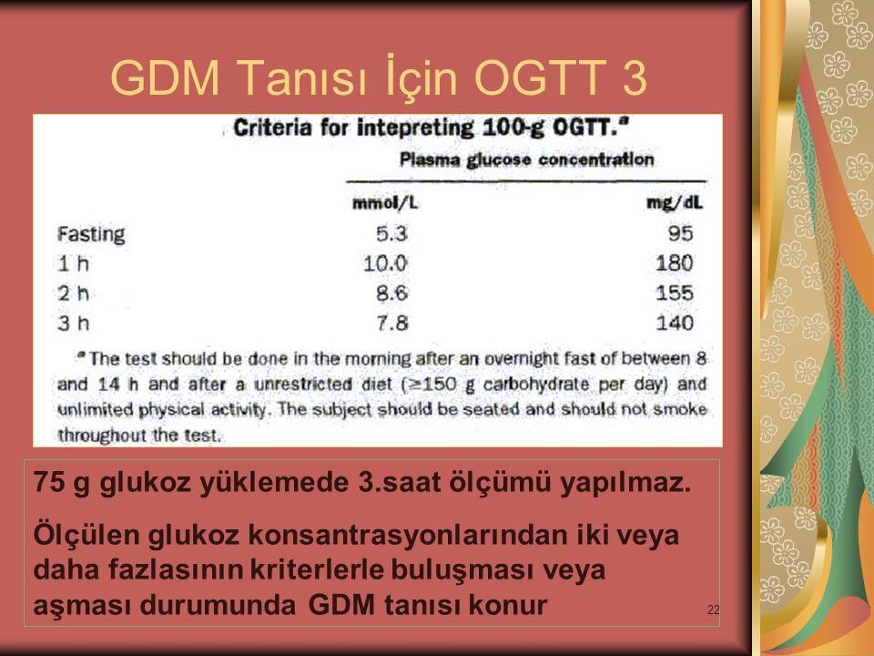 22 GDM Tanısı İçin OGTT 3 75 g glukoz yüklemede 3.saat ölçümü yapılmaz. Ölçülen glukoz konsantrasyonlarından iki veya daha fazlasının kriterlerle bulu