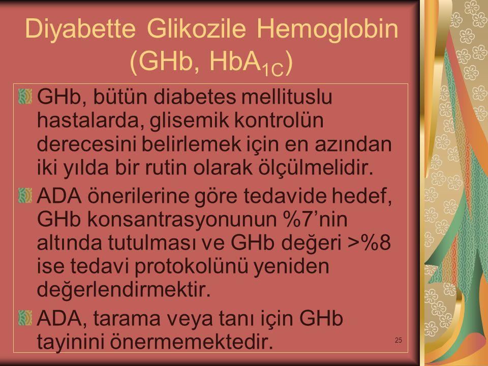 25 Diyabette Glikozile Hemoglobin (GHb, HbA 1C ) GHb, bütün diabetes mellituslu hastalarda, glisemik kontrolün derecesini belirlemek için en azından i