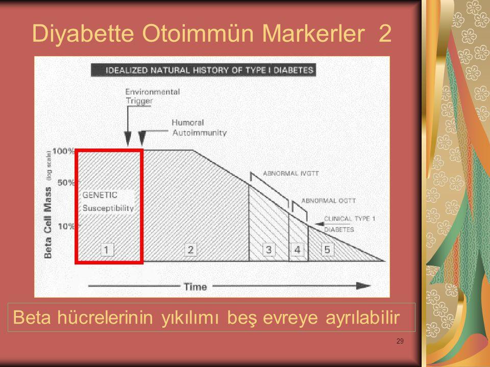 29 Diyabette Otoimmün Markerler 2 Beta hücrelerinin yıkılımı beş evreye ayrılabilir