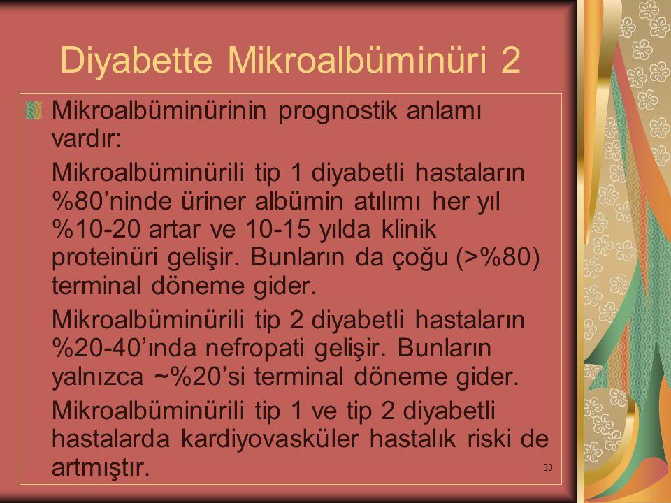 33 Diyabette Mikroalbüminüri 2 Mikroalbüminürinin prognostik anlamı vardır: Mikroalbüminürili tip 1 diyabetli hastaların %80'ninde üriner albümin atıl
