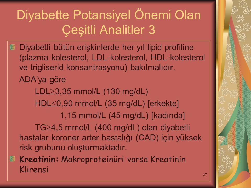 37 Diyabette Potansiyel Önemi Olan Çeşitli Analitler 3 Diyabetli bütün erişkinlerde her yıl lipid profiline (plazma kolesterol, LDL-kolesterol, HDL-ko