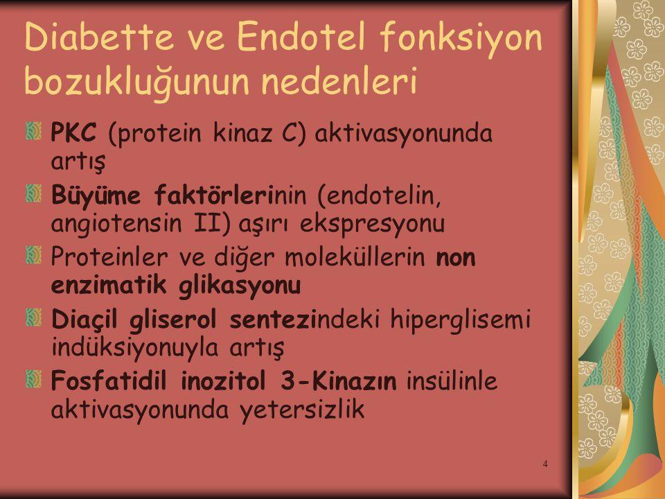 4 Diabette ve Endotel fonksiyon bozukluğunun nedenleri PKC (protein kinaz C) aktivasyonunda artış Büyüme faktörlerinin (endotelin, angiotensin II) aşı