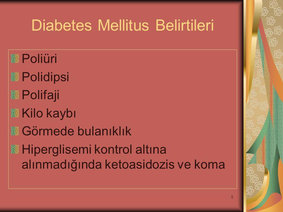 5 Diabetes Mellitus Belirtileri Poliüri Polidipsi Polifaji Kilo kaybı Görmede bulanıklık Hiperglisemi kontrol altına alınmadığında ketoasidozis ve kom