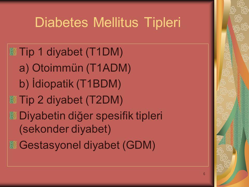 6 Diabetes Mellitus Tipleri Tip 1 diyabet (T1DM) a) Otoimmün (T1ADM) b) İdiopatik (T1BDM) Tip 2 diyabet (T2DM) Diyabetin diğer spesifik tipleri (sekon