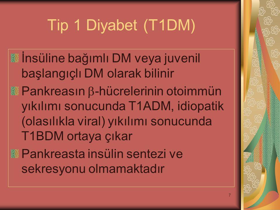 8 Tip 2 Diyabet (T2DM) İnsüline bağımlı olmayan DM veya erişkin başlangıçlı DM olarak bilinir İnsüline direnç, yetersiz insülin sekresyonu veya bu ikisinin birlikte olması sonucunda ortaya çıkar Diyabetin en sık görülen formudur.